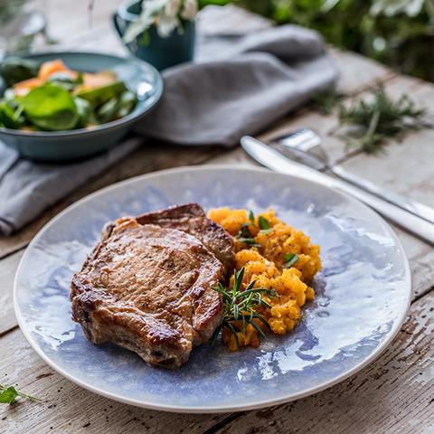 Pork chops with pumpkin puree
