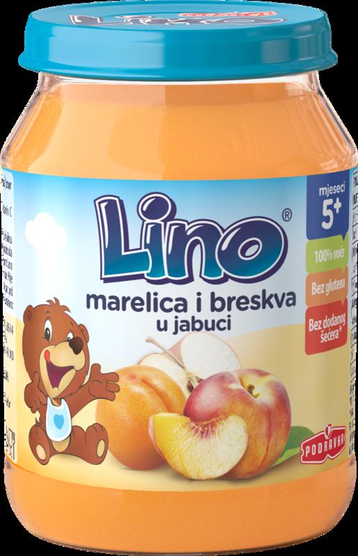 Lino kašica jabolko z marelico in breskvijo